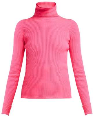 Balenciaga Ribbed Knit Roll Neck Hooded Sweater - Womens - Pink