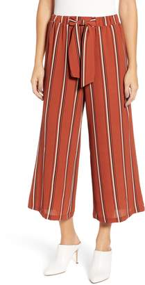 HIATUS Tie Waist Stripe Wide Leg Crop Pants