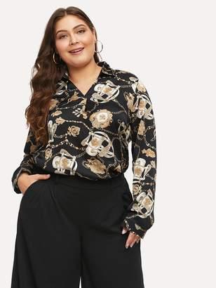 Shein Plus Chain Pattern V Neckline Shirt