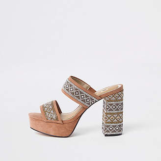 River Island Womens Beige embellished platform block heel sandals