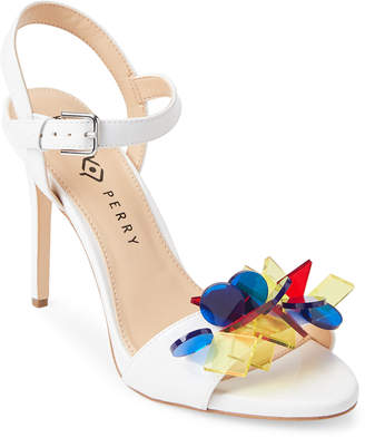 Katy Perry White Kelsi Embellished Patent Sandals