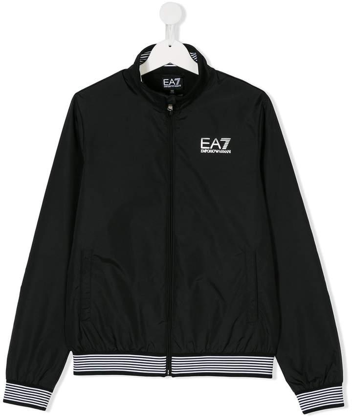 Ea7 Kids embroidered logo bomber jacket