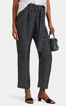 Masscob Women's Venice Floral Silk Belted Pants - Black