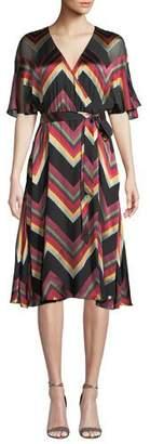 Alice + Olivia Lexa Chevron Stripe Midi Dress