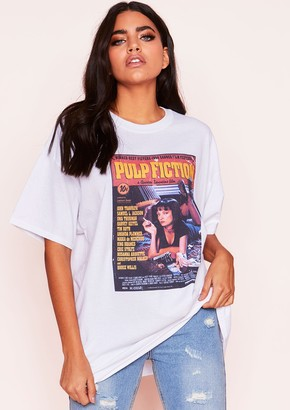 35be449f Missy Empire Missyempire Mia White Graphic Oversized T-Shirt