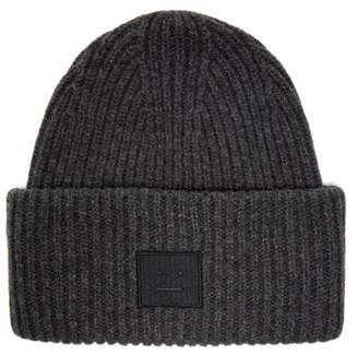 Acne Studios Pansy Ribbed Knit Wool Beanie Hat - Womens - Grey