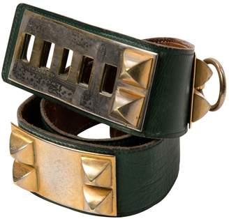 Hermes Vintage Collier de chien Green Leather Belts