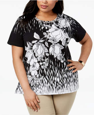 Alfred Dunner Barcelona Plus Size Floral-Print Lattice-Neck Top