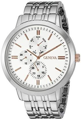 Geneva Men's GV/5001SVTT Multi-Function Dial Silver-Tone Bracelet Watch