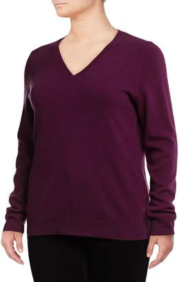 Lord & Taylor Plus V-Neck Cashmere Sweater