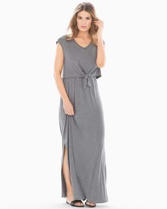 Soft Jersey Sleeveless Knot Front Maxi Dress Heather Graphite