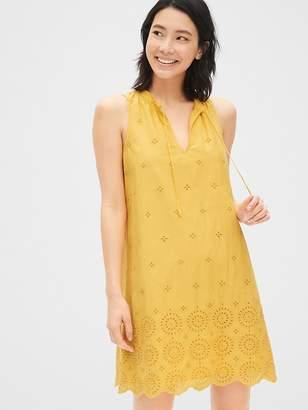 038cff2f10388 Gap Eyelet Embroidered Sleeveless Tie-Neck Swing Dress