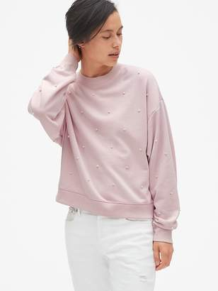 Gap Pearl Embellished Pullover Sweatshirt in French Terry