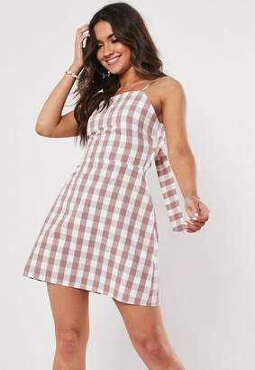 Missguided Pink Gingham Cami Shift Dress