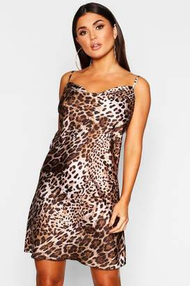 boohoo Leopard Print Satin Cowl Neck Slip Dress
