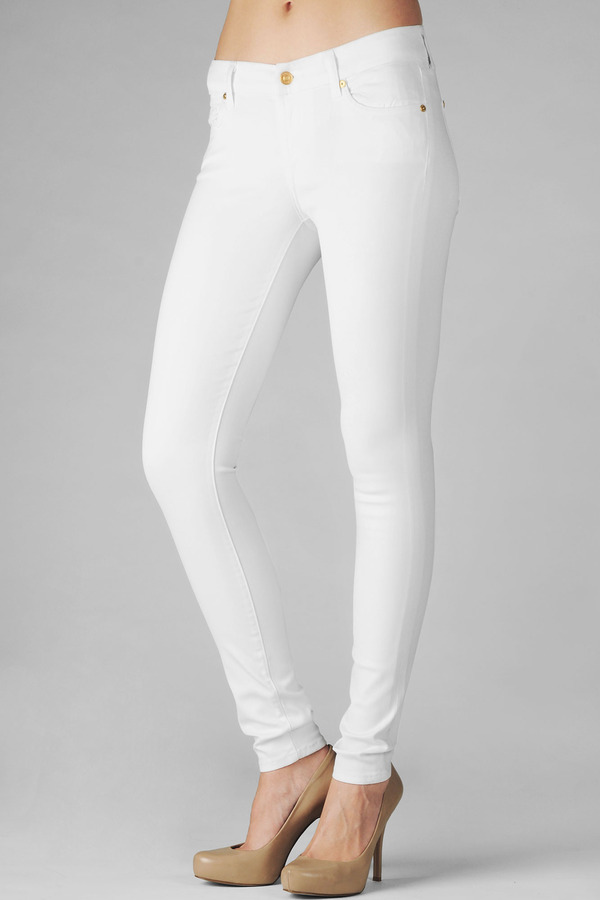 7 For All Mankind The Skinny In High Shine Leather-Like White