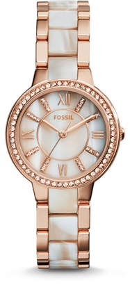Fossil Virginia Rose-Tone & Horn Acetate Stainless Steel Watch