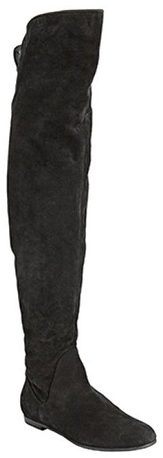 Giuseppe Zanotti black suede over-the-knee flat boots