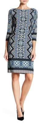 London Times Diamond Scroll Crew Neck Dress