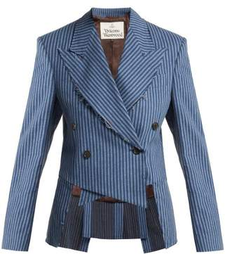 Vivienne Westwood Striped Brushed Cotton Cutaway Blazer - Womens - Blue