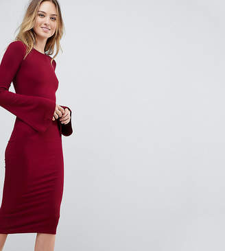 Asos Tall TALL Midi Bodycon Dress with Fluted Sleeves