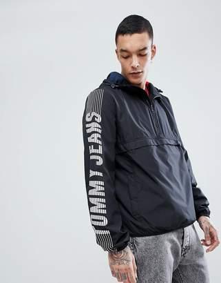 Tommy Jeans Capsule Overhead Hooded Jacket Sleeve Logo in Black