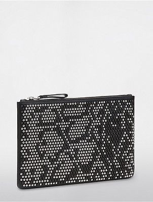 Calvin KleinCalvin Klein Womens Platinum Studded Medium Pouch Black
