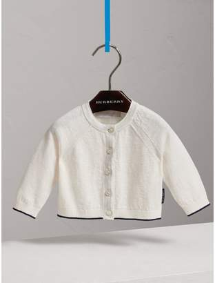 Burberry Rib Detail Linen Cotton Cardigan