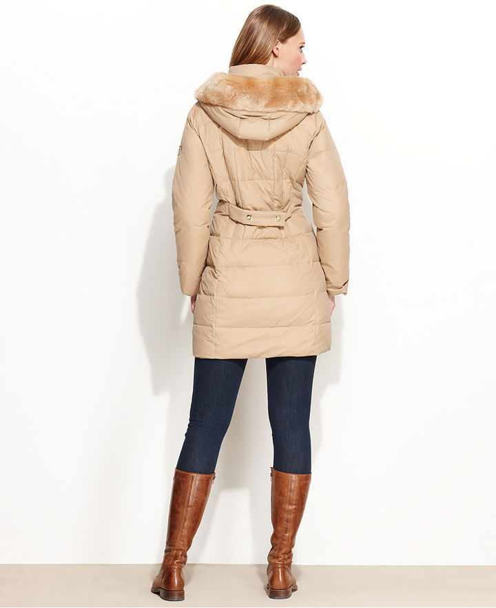 Larry Levine Hooded Faux-Fur-Trim Quilted Puffer