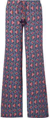 Figue Ipanema Printed Silk Crepe De Chine Wide-leg Pants - Purple