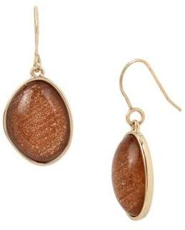 Kenneth Cole New York Textured Metals Large Stone Drop Earrings