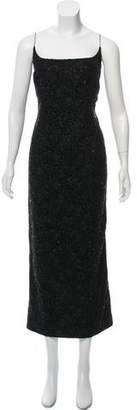 Carmen Marc Valvo Embellished Lace Maxi Dress