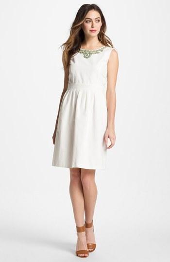 Ellen Tracy Embellished Fit & Flare Dress