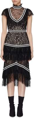 Alice + Olivia 'Annetta' contrast stripe ruffle tiered lace dress