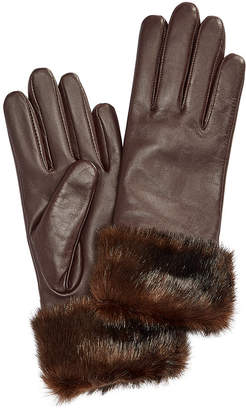 Charter Club Faux Fur-Cuff Leather Tech Gloves, Created for Macy's