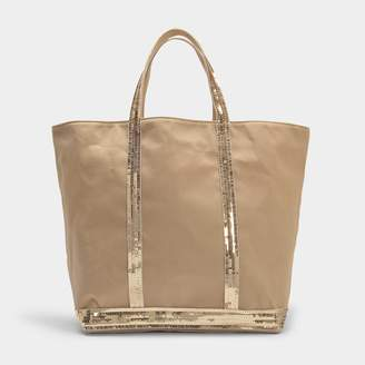 Washed Leather and Sequins Medium + Tote Bag in Black Cowhide Vanessa Bruno