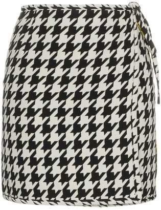 Off-White high waisted virgin wool blend houndstooth mini skirt