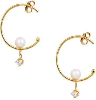 Sweet Pea Pearl and Diamond Dangle Hoop Earrings - Yellow Gold