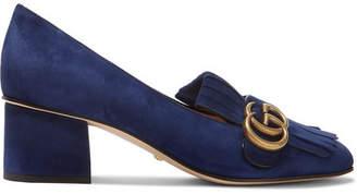 Gucci Marmont Fringed Logo-embellished Suede Pumps - Navy