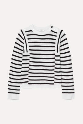 Vince Striped Ribbed Wool And Cashmere-blend Sweater - White