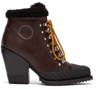 Chloé Rylee Lace Up Leather Boots - Womens - Burgundy
