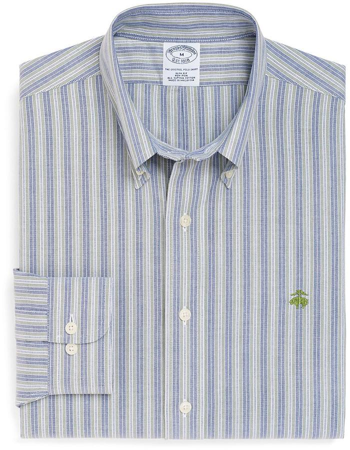 Brooks Brothers Non-Iron Slim Fit Double Stripe Oxford Sport Shirt