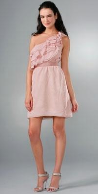 Lela Rose One Shoulder Belted Dress