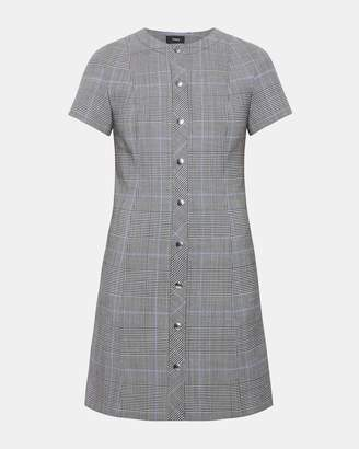 Theory Plaid Easy Snap Shift Dress