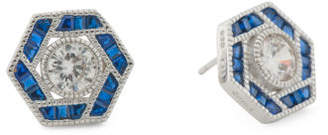 Sterling Silver Blue Spinel And Cz Hexagon Stud Earrings