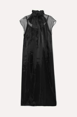 Prada - Bow-embellished Silk-organza Midi Dress - Black