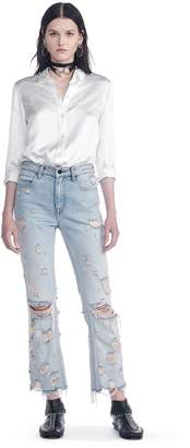 Alexander Wang Silk Button-Up Shirt With Cigarette Jacquard