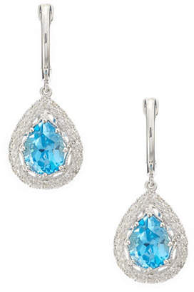 Effy 14K White Gold Diamond And Blue Topaz Earrings