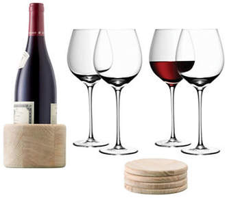 LSA International Nine-Piece Handmade Wine Glass and Oak Coaster Set