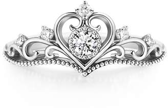 SiBeXu Wedding Crown Heart Shaped Rings of 18K Inlay White Cubic Zircon CZ Crystal Bands for Women Girls Engagement (, 9)